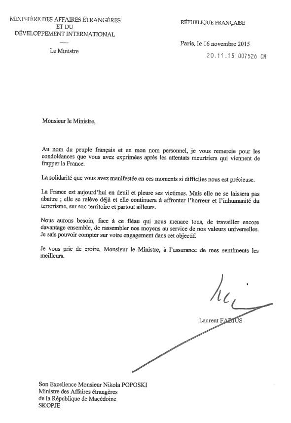 Lettre de M. Laurent Fabius, Ministre des Affaires Etrangères et